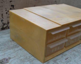 Vintage Plastic Storage Cabinet, Crafting Organizer Drawers, Industrial Parts Bin, Hardware Utility Chest, Akro Mills