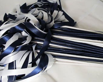 Enchanted Wedding Ribbon Wands 100 Pack IN YOUR COLORS (shown in navy blue and white) nautical theme wedding