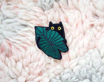 Iron On Patch -  Jungle Kitty Iron-On Embroidered Patch - Iron-On - Sew On Patches - Cat Lover - Plant Lover - Cat Lady