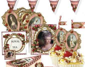 Marie Antoinette Party supplies decor for birthday, Tea party  instant party  printable cupcake toppers, tea bags, cuppcake toppers and more