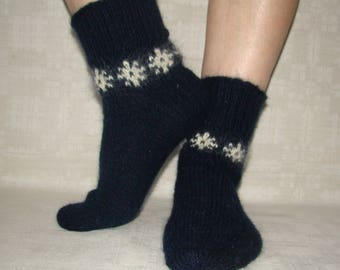 Women socks from natural sheep wool and mohair, hand knitted, soft, fluffy