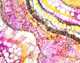 Giclee Art Print Feminine Art For Her, Boho Art Alcohol Ink Painting Pink 11x14 Wall Art Fine Artwork, Hippy Art Work, Teen Art Bohemian Art