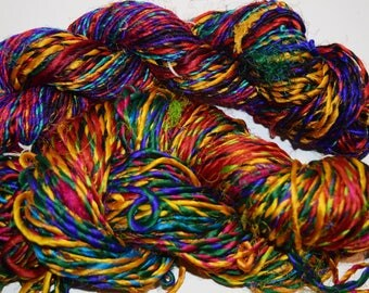 200 gr 2 skeins Himalaya Sari Recycled  Silk Yarn Jewelry Gift Wrap Fair Trade Gift Wrap Ribbon Fiber Color bright multi free shipping