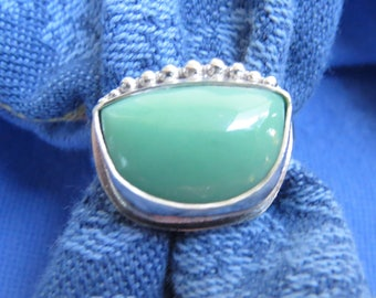 Apple Green Lucin Variscite Shield in Granulated Silver Ring Size 9