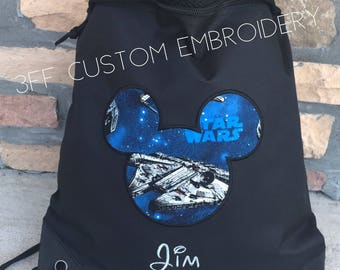 STAR WARS MICKEY 2 Pocket Canvas Drawstring Backpack Personalized and Embroidered