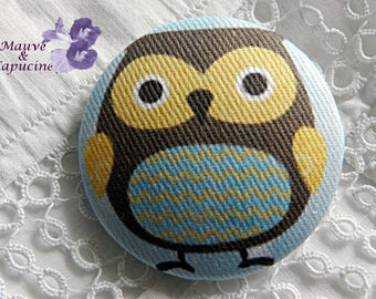 Owl printed fabric button, 40 mm / 1.57 in diameter