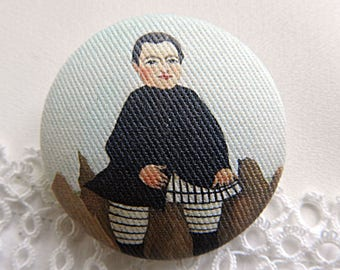 Button out of fabric, printed Douanier Rousseau,  0.94 in / 24 mm
