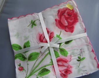 Vintage style Floral handkerchiefs; 12 pack, in 3 colors; great for crafting