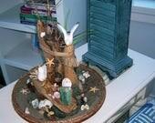 ON SALE Beach Lover's Wedding Gift, Coastal Decor Seagull and Driftwood Handmade Seashore Sculpture