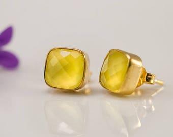 40 OFF - Yellow Chalcedony Stud Earrings - Gemstone Studs - Cushion Cut Studs - Gold Stud Earrings - Post Earrings
