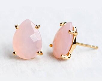 Pink Chalcedony Stud Earrings - Post Earrings - Gold Stud Gemstone Earrings - Tear drop Stud - Prong Set studs