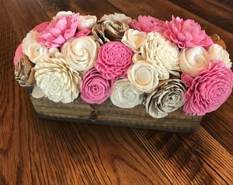 Sola Wood Flower Centerpiece- Farmhouse Decor- Rustic Decor- Wedding Centerpiece