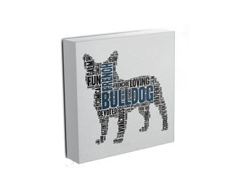 French Bulldog Word Art Canvas • Personalize with your Choice of Colors • Free Shipping
