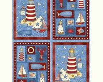Safe Harbor Lighthouse and Nautical 29x44 panel cotton quilting fabric by Debbie Mumm for SSI - Last One