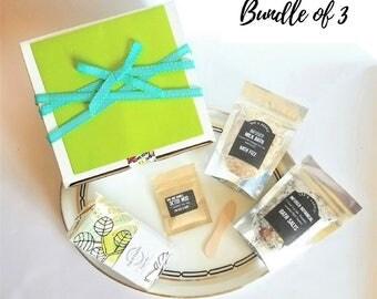 3 Bath Salt Favors   Bridesmaid Box   Spa Gift Set with Bath Salts   Bath Soak   Sugar Scrub Soap   Facial Mask