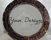 "Cobalt Dinner Plate, 10.5"", Vintage, Skull Plate, Customizable Plate, Custom Dish, Custom China, Skeleton Plate, Halloween China"