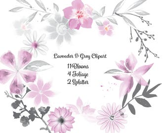 Watercolor Lavender & Grey Floral Clip Art High Resolution Graphic Greeting Scrapbooking