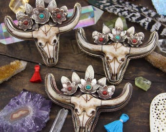 "Boho Bull Cow Skull With Floral Feather Crown : Nepali Silver Bezel Set Carved Pendant, Bohemian, Strength, Protection Talisman, 3.5"", 1 pc"