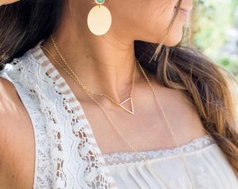 Gold Circle and Mint Stone Chandelier Earrings. Gold Disc and Aqua Stone Dangle Earrings. Fun Big Earrings. Jewelry Gift.