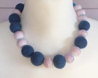 Felt necklace, felt ball necklace, blue felt necklace, felted jewellery, felt bead necklace, felt jewellery, chunky necklace