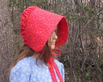 JENNY - 1600s to 1900 Solid Color Girls Prairie Pioneer Western or Colonial Bonnets  - Sun Bonnet - All Sizes, Infant to Size 12 Girls