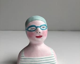 Clay figurine // SWIMMER 100 clay sculpture // white blue grey-striped bathing suit // blue grey swim cap & goggles // original art