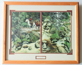 Bev Doolittle FOREST HAS EYES Lithograph Print In Wooden Frame Double Matted Native American Animal/Spirit Camouflage Artist