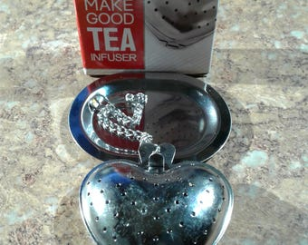 Stainless Steel Heart Shaped Tea Infuser with Tray
