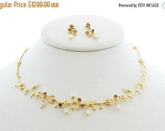 ON SALE - 18k Yellow Gold Custom Designed Pearl, Sapphire and Ruby Ensemble
