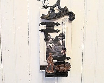 Assemblage Art Wall Shelf Repurposed Wood Photo Holder -- Recycled Salvage, Vintage Hardware , Iron,  Architectural