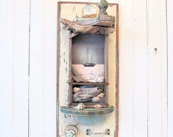 Assemblage Art Wall Shadowbox with Salvaged Driftwood, Repurposed Painted Wood, Beach, Ocean, Shell Theme - Original Sailboat Photo
