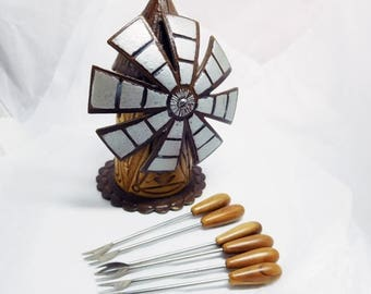 SALE Windmill Appetiser Pick Holder 60's-70's Faux Wood Moving Windmill set of 6 Kitsch Fun