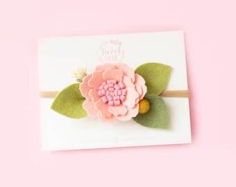 Felt flower headband, Flower headband, Baby flower headband, Baby Headband, Baby Felt Headband, Baby pink headband, pink Felt Headband