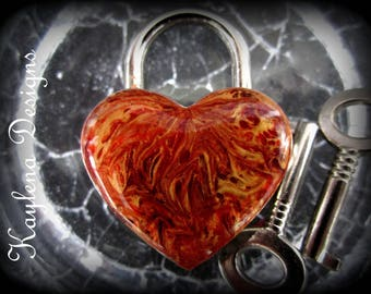 Heart lock with Gold Oranges and Reds Marbling, Heart lock, Working Heart lock with Gold Oranges and Reds Marbling