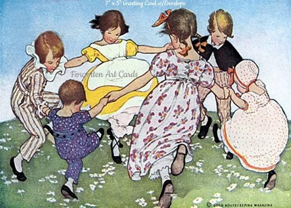"Ring Around The Rosie, 7""x5"" Greeting Card w/Envelope, Jessie Willcox Smith, Forgotten Art Cards, Pretty Girl Postcards, Boys, Girls"
