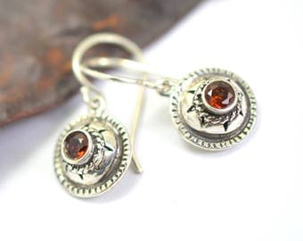 Silver garnet earrings, sterling silver small earrings, rustic antique style, gemstone earrings, garnet jewelry, January birthstone
