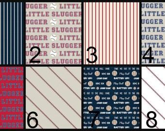 Crib Sheet, Changing Pad Cover, Crib Bedding, Baby Bedding, baseball, sports, slugger, cream, red, navy