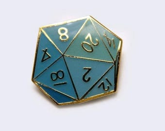 Twenty-Sided Die Enamel Pin - D20