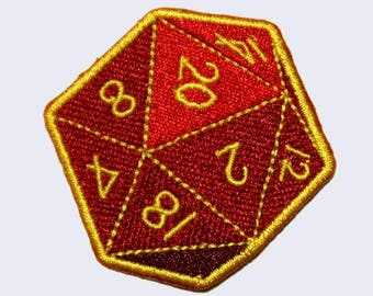 Twenty-Sided Die (D20) Embroidered Patch - Rpg - Gamer Patches - D&D