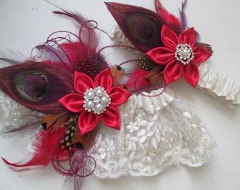 Red & Plum Purple Wedding Garter Set, Rustic Garters, Burgundy Peacock Garters, Burlap and Lace Garter, Country- Rustic Bride