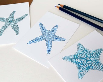 Turquoise, Aqua, and Royal Blue Starfish Notecards, Set of Nine