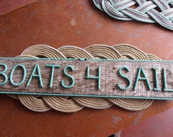 BOATS 4 SAIL Nautical Sign Rope Letters Pallet Wood With Green Rope Letters Indoor/Outdoor Beach Boat Houses Docks Ocean Marine