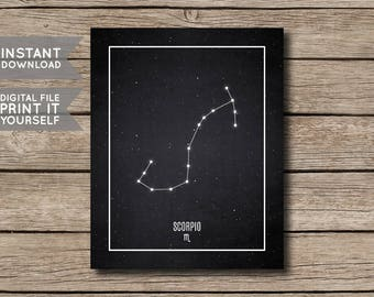 INSTANT DOWNLOAD - Scorpio Constellation / Printable Zodiac / Horoscope Constellation Print / Poster / Chalkboard Style - Digital File