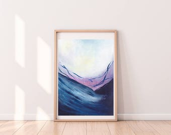 Acrylic abstract painting mountains blue pink NEW sunset contemporary art A3 bedroom wall art lounge art nature art home decor