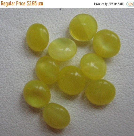 SPECIAL Vintage Yellow Moonstone Cabochons 6mm Round QTY - 15