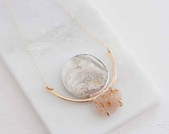 Agate + Druzy Arc Necklace | 14k Gold Fill + Sterling Silver | Two of a Kind