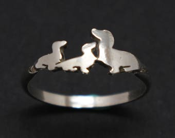 Mother and 2 Child Dachshund Ring - Silver Dachshund Jewelry - Dachshund Dog Wrap Around Ring - Pet Jewelry - Gift for Dog Owner or Lovers