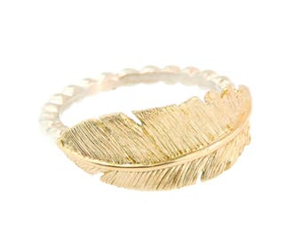 14k Yellow Gold Feather Ring on a Sterling Silver Beaded Band