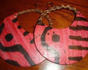 Leather Tie Dye Earrings