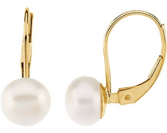 14K  Yellow Gold  Freshwater Cultured Pearl lever Back Earrings--- ST31363
